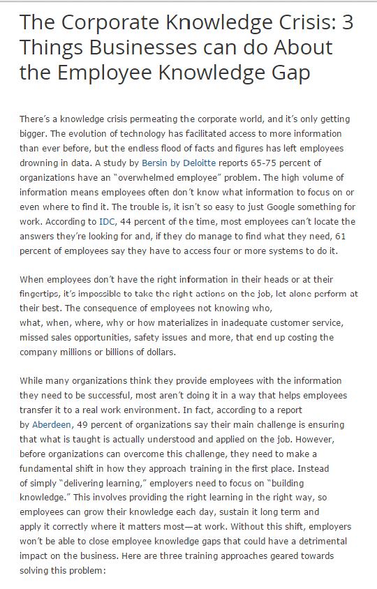 business employee knowledge gap