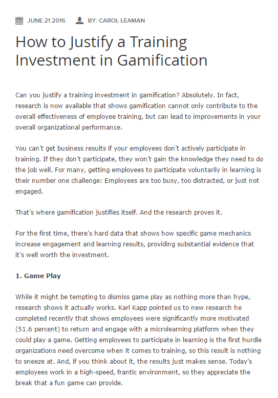 how to justify investment in gamification