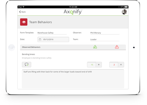 The Axonify platform on an iPad. Screenshot of team behaviours interface