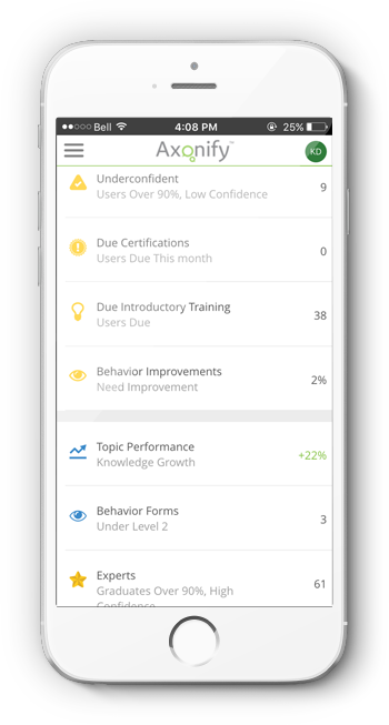 Axonify provides insight into employee learning even on the iPhone app