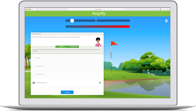 Axonify Platform screenshot showing goal tracking