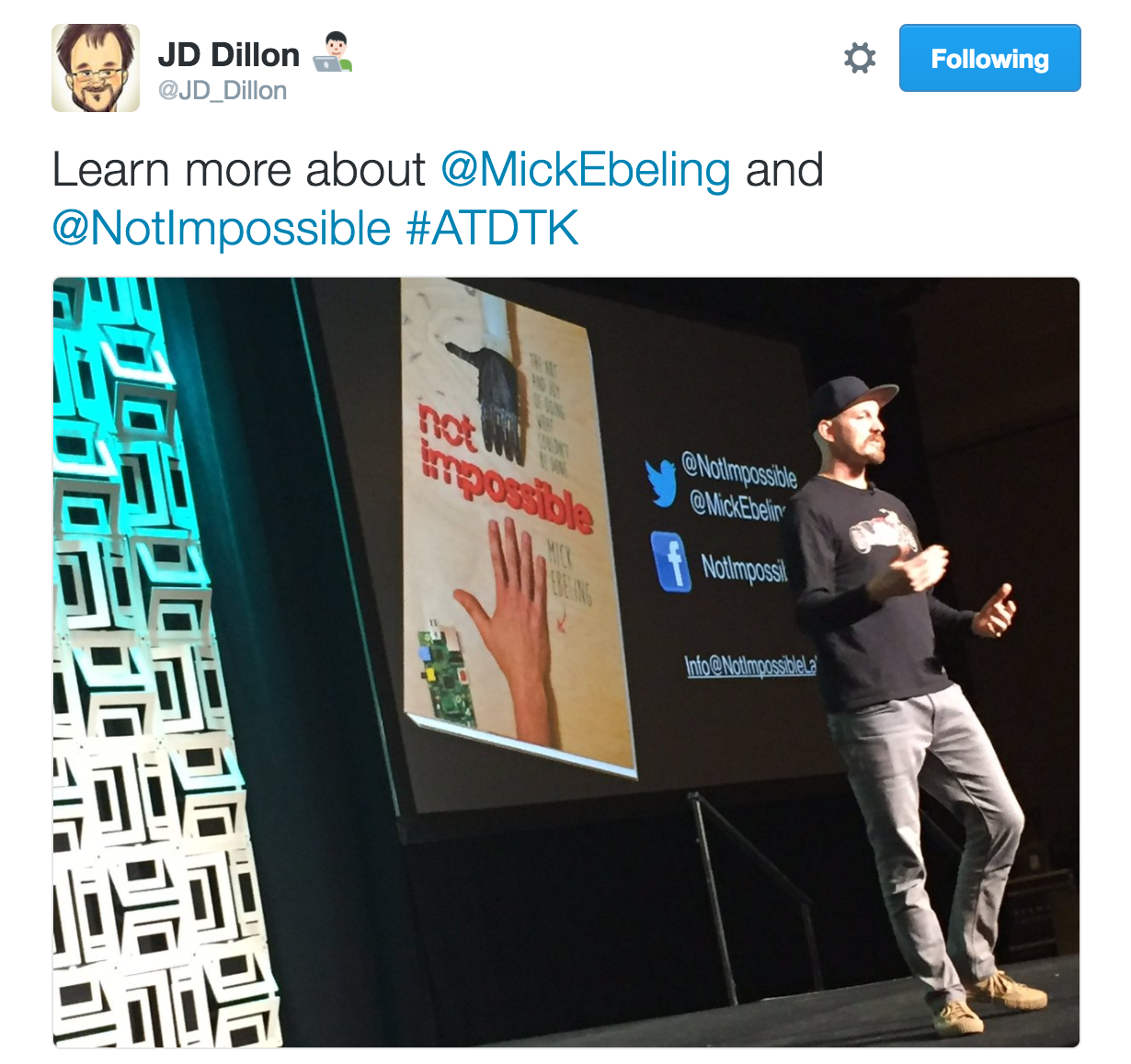 ATD TechKnowledge 2017 Mick Ebeling Tweet