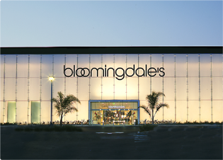 Bloomingdale's storefront lit up at night