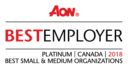 2018 Aon Best Employers in Canada, Platinum, Best Small & Medium Organizations