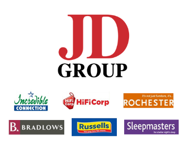 JD Group brands - Incredible Connection, HiFiCorp, Rochester, Bradlows, Russel's, and Sleepmaster