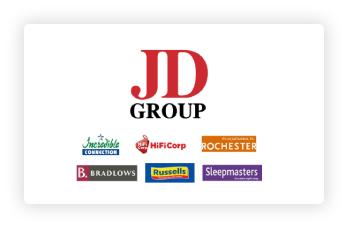JD Group brands—Incredible Connection, HiFiCorp, Rochester, Bradlows, Russel's, and Sleepmaster