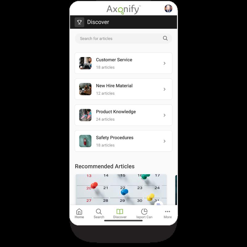 Mobile discover screen
