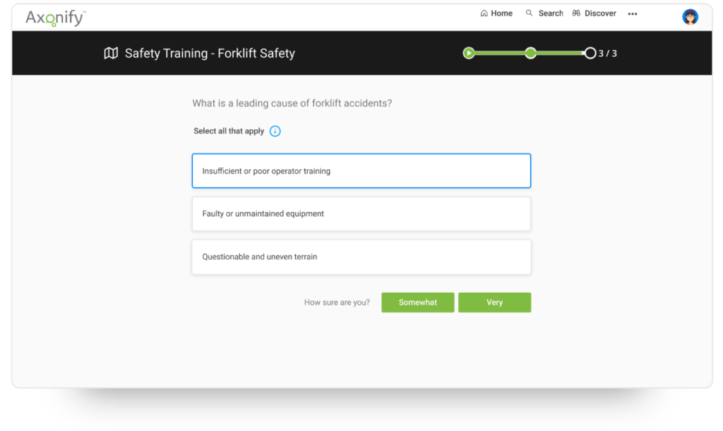 Example of compliance training in Axonify