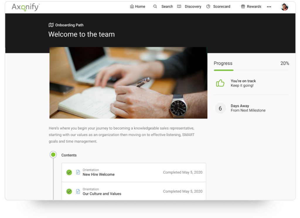 Screenshot of the onboarding experience for new hires