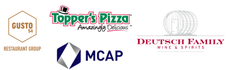 Examples of Axonify's mid-size clients, including Gusto 54 Restaurant Group, MCAP, Topper's Pizza, and Deutsch Family Wine & Spirits