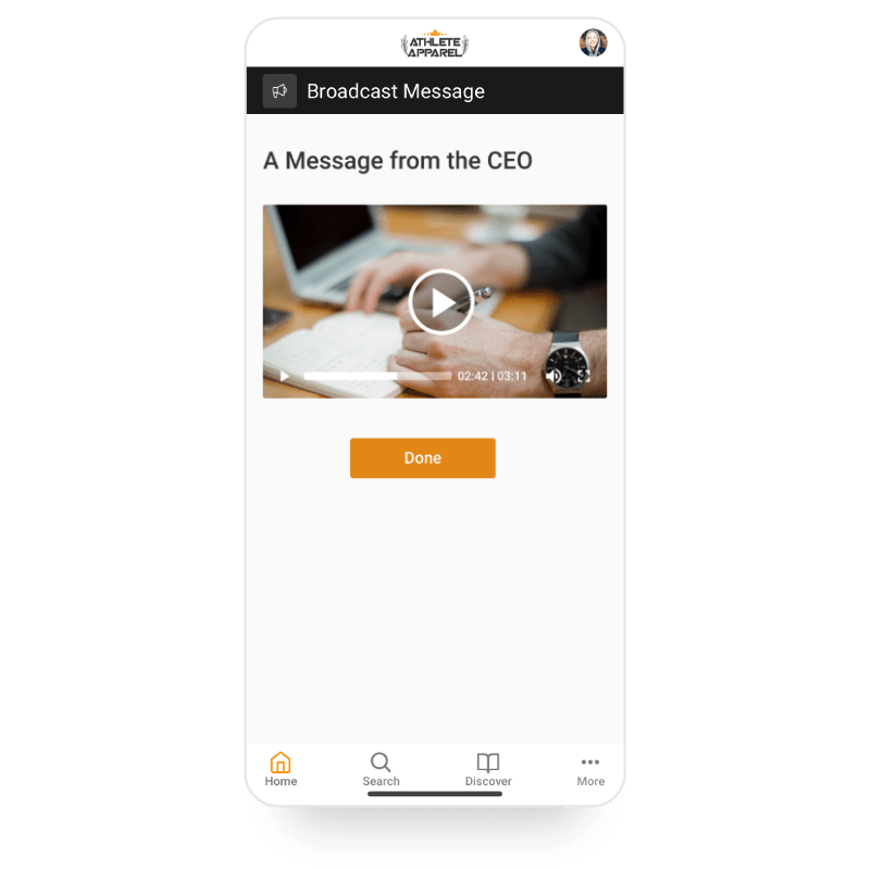 Mobile screenshot of Axonify platform showing a video message from the CEO.