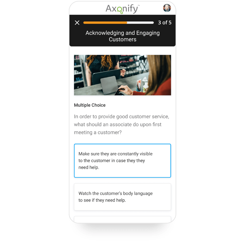 Mobile screenshot of Axonify platform showing a customer service question.