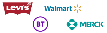 Examples of Axonify's enterprise clients, including Walmart, Levi's, BT and Merck