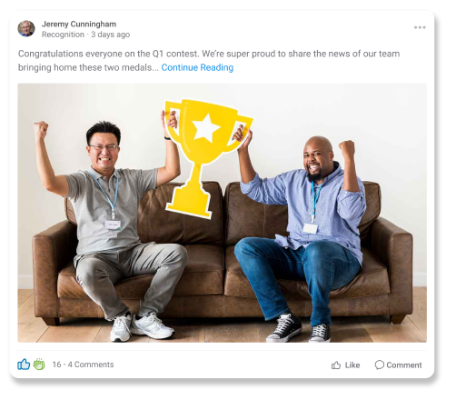 Screenshot of a post with reactions in the Axonify platform