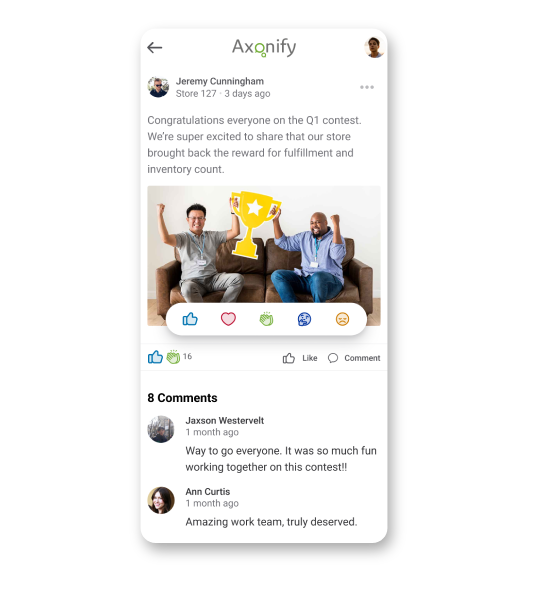 Screenshot of social-media style posts in Axonify Communicate