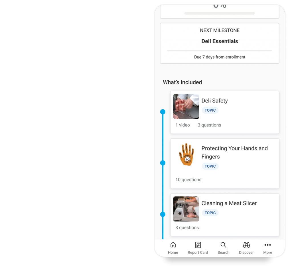 Axonify product image of learning paths on mobile