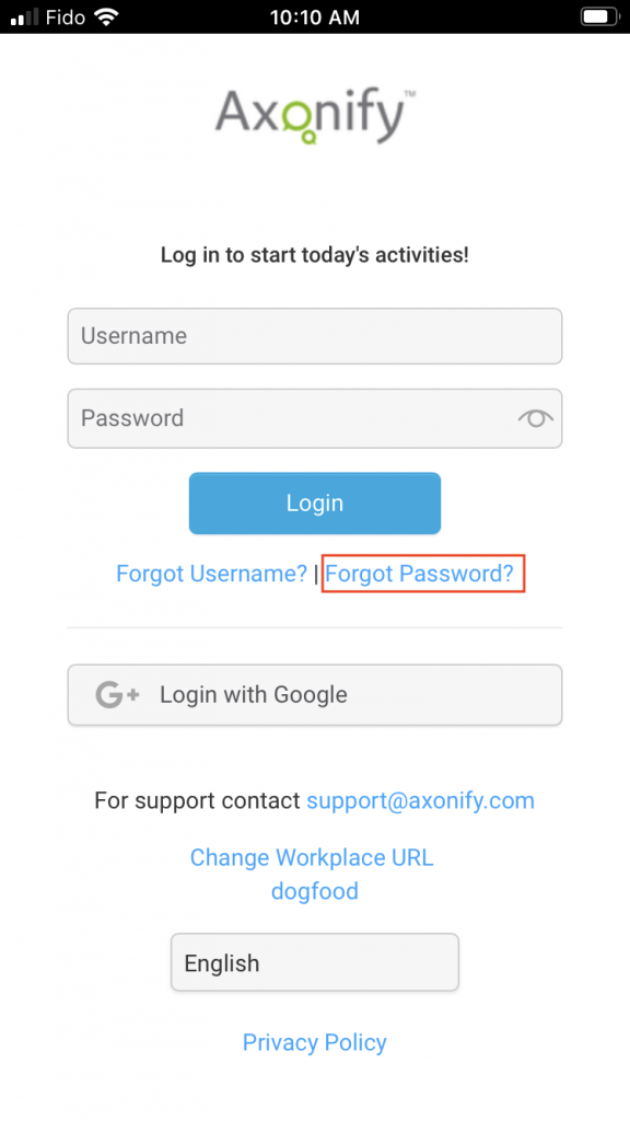 Screenshot of the Axonify login screen on mobile, with the Forgot Password link highlighted