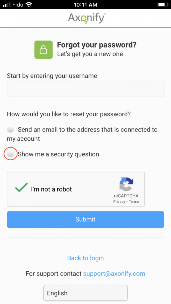 Screenshot of the Forgot Password screen on the Axonify app